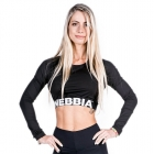 Longsleeve Crop Top, black, Nebbia